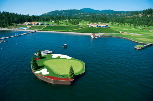 The world-famous Floating Green at The Coeur d'Alene Resort Golf Course