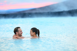 Hot spring geothermal spa Iceland romantic couple